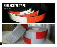 Primelite Red/White Reflective Tape 5cm x 45.7 meters length Self-adhesive warning tape