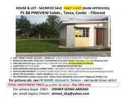 HOUSE & LOT - SACRIFICE SALE   ONLY 1-SLOT (BANK APPROVED)