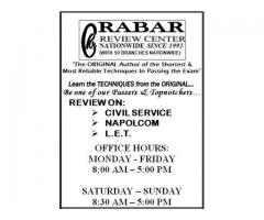 """Rabar Review Center - Nationwide """"Civil Service Review"""" Philippines."""