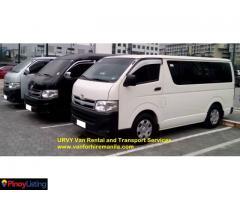 URVY van rental and transport service