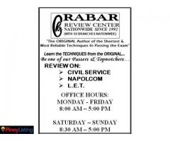 "Rabar Review Center - Nationwide ""Civil Service Review"" Philippines."